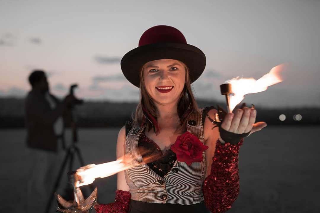 Palm torches Rewi Elffyre CirqueSanity