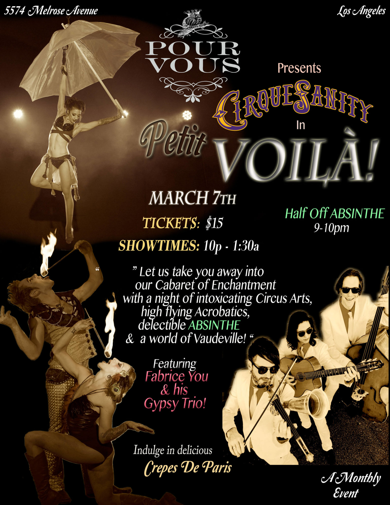 "LA's hottest new nightlife show! CirqueSanity presents ""Petit Voila!"" Residency at Pour Vous in Melrose"