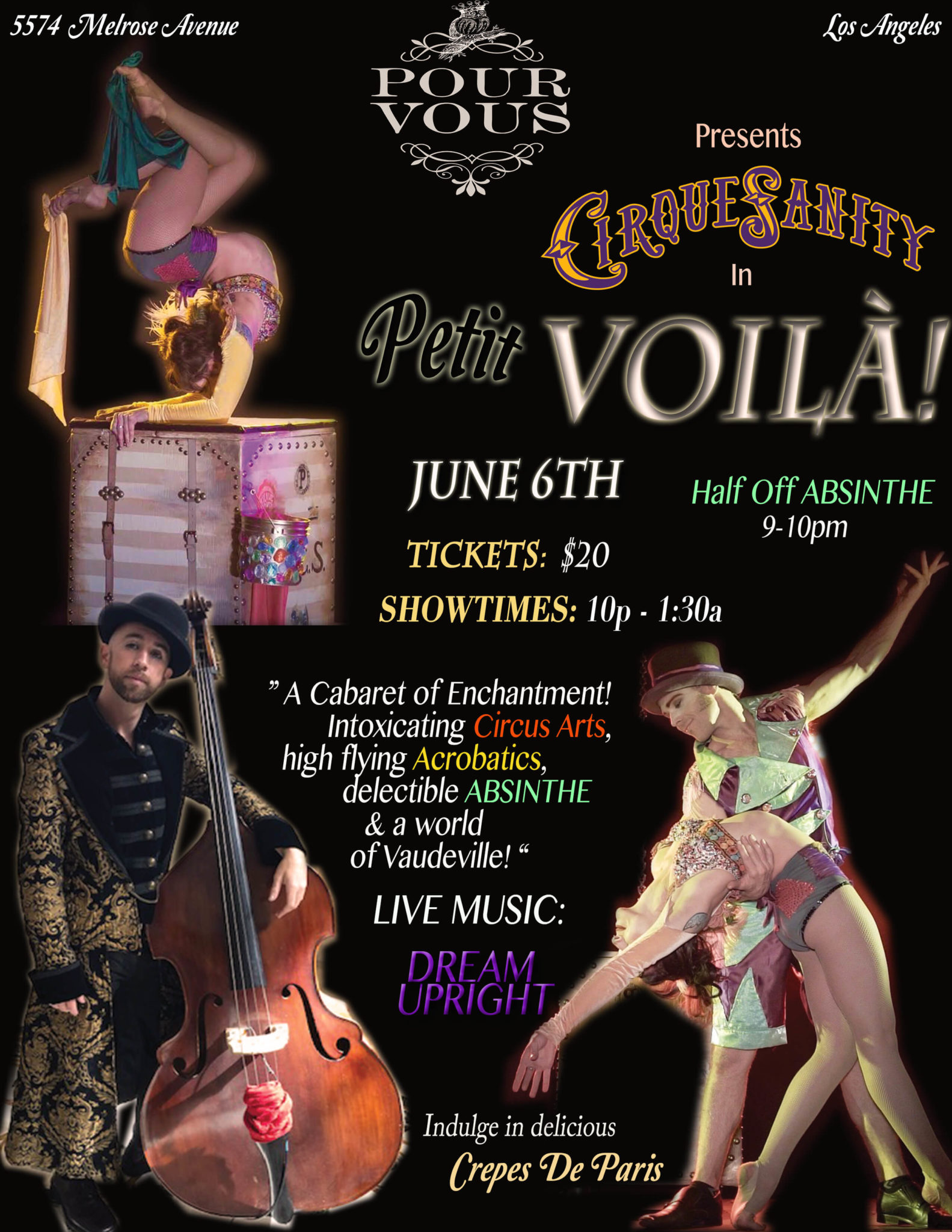 Petit Voila at Pour Vous, Melrose Los Angeles. Immersive cirque theatre